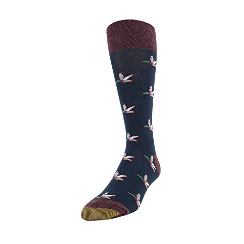 Gold Toe Men's Printed Novelty Graphic Fashion Dress Crew Socks, 1 Pair, Ducks Blue, Shoe Size: 6-12.5
