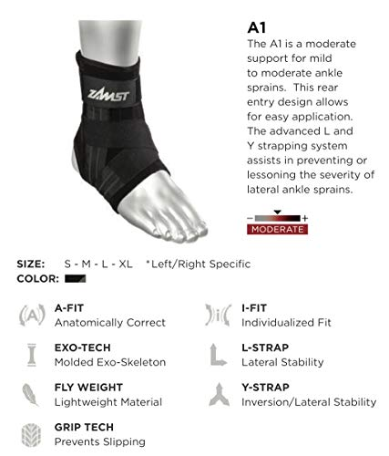 Zamst A1 Right Ankle Brace, Black, Medium by Zamst (Image #2)