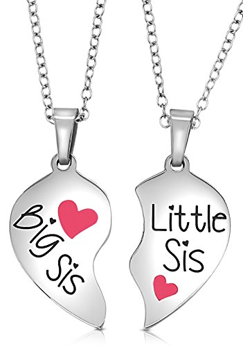 2 Piece Heart Matching Big Sis Little Sis Sisters Necklace Set Jewelry Gift Best Friends (Pink)