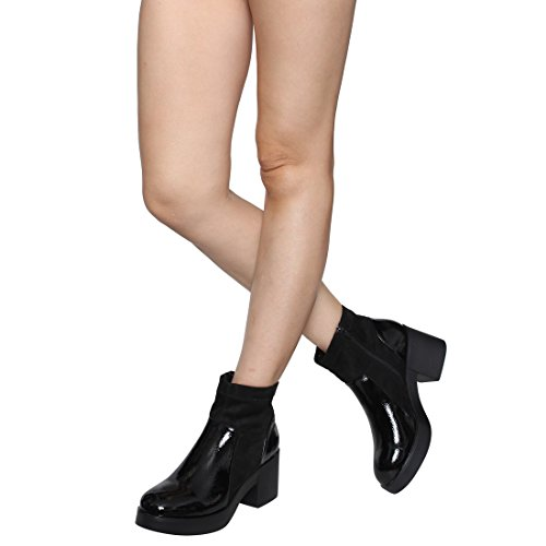 Run Stacked Booties BESTON Heel Top Women's Large Ankle Black High Chunky EJ45 ffYgzqS