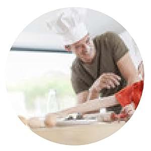 alfombrilla de ratón un padre y su hijo que preparan un pastel en la cocina - ronda - 20cm