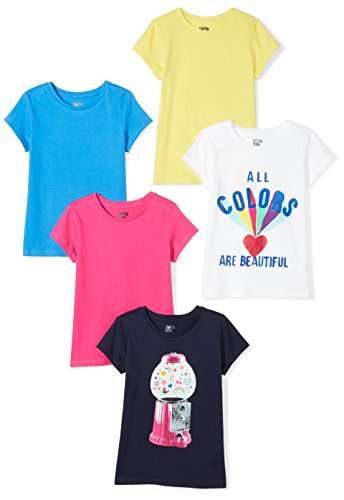 Spotted Zebra Little Girls' 5-Pack Short-Sleeve T-Shirts, Colors Are Beautiful, X-Small (4-5) ()
