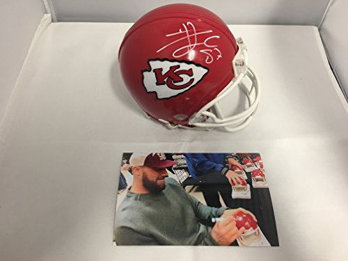 Travis Kelce Signed Autographed Kansas City Chiefs Mini Helmet COA Card & Hologram W/Photo From Signing from Signature Dog Autographs