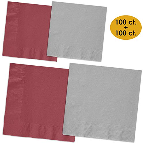 200 Napkins - Burgundy & Shimmering Silver - 100 Beverage Napkins + 100 Luncheon Napkins, 2-Ply, 50 Per Color Per Type