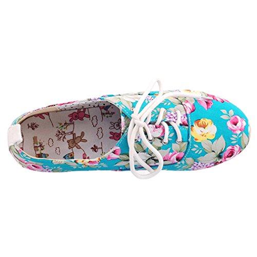 ENMAYER Frauen Mädchen gedruckt Stoff Casual Runde Zehen schnüren sich oben Ballett-Ebenen Schuhe Blau