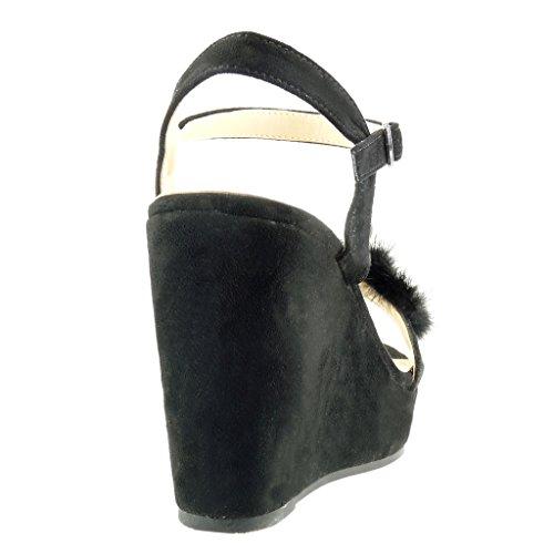Angkorly - Zapatillas de Moda Sandalias zapatillas de plataforma mujer piel flores joyas Talón Plataforma 11 CM - Negro