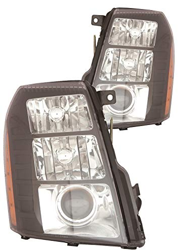 For 2007 2008 2009 2010 2011 2012 2013 2014 Cadillac Escalade Headlight Headlamp Assembly Driver Left and Passenger Right Side Pair Replacement GM2505142
