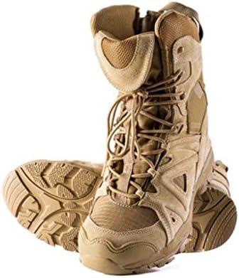 屋外軍事戦術ブーツレザーは暖かいハイヘルプレースアップスタイルハイキングブーツの滑り止め耐摩耗ラバーソールをキープ (色 : ベージュ, サイズ : 28 CM)