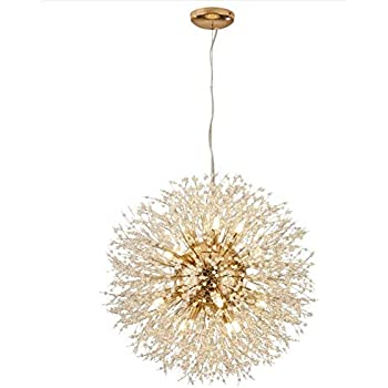 LuKLoy Super Beautiful Chandelier Pendant Lamp Kitchen Island Dining Room Loft Firework Hanging Light Post Modern Dandelion Crystal LED Lighting Fixture ...