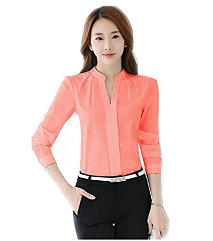 Women V-Neck Long Sleeve Chiffon Shirt Blouse Tops Elegant Solid Casual Shirts - Designer Sheer
