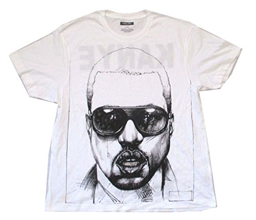 Kanye West Sunglasses Face Sketch Silver Grillz White T Shirt ()