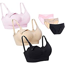 Desirelove Women Nursing Bras Full Coverage Seamless Bra for Pregnancy & Nuring Panties,Bra in M and Panties in M,Assort