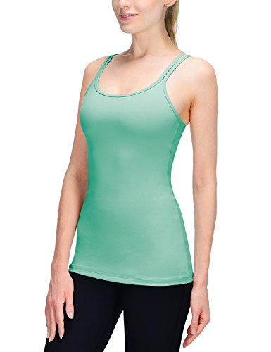 Baleaf Women's Yoga Cami Tank Top Built in Shelf Bra Mint Green Size S