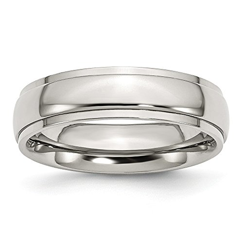 Stainless Steel Ridged Edge 6mm Polished Band Size 9.5 (Steel Ridged Stainless Edge)