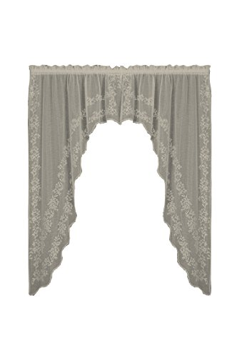 Heritage Lace Sheer Divine Swag Pair, 80 by 63-Inch, White