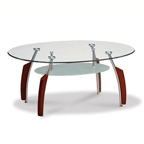 (Global Furniture Clear/Silver Occasional Coffee Table with Mahogany Legs)