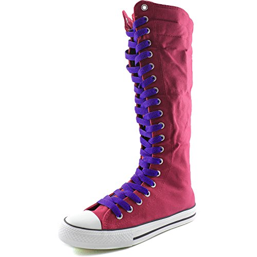 DailyShoes Womens Canvas Mid Calf Tall Boots Casual Sneaker Punk Flat, Fuchsia Boots, Smokey Purple Lace