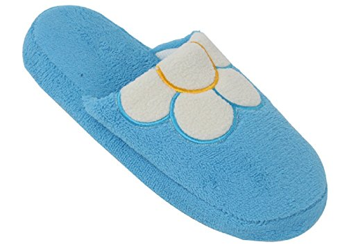 Brand New Womens Fleece Closed Toe Slide Slippers Available in 12 Colors Blue-white PCoipokCx