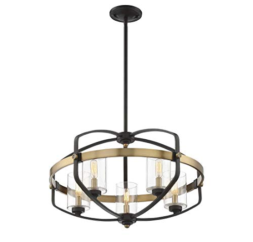 Savoy House 7-8041-5-79 Kirkland 5-Light Pendant in English Bronze and Warm Brass (Lamps Kirklands)