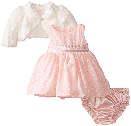 Nannette Girls' Baby-Infant 3 Piece Velboa Dress Set, Ripe Guava, 6-9 Months (Nannette 3 Piece)