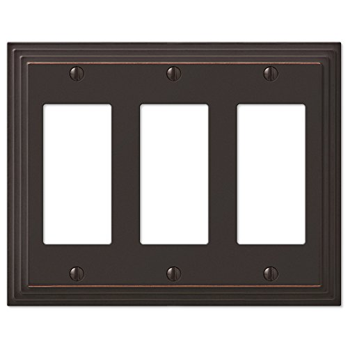 Step Design Triple GFCI Decora Rocker Wall Switch Plate Outlet Cover - Oil Rubbed (Dark Bronze Cover Plate)
