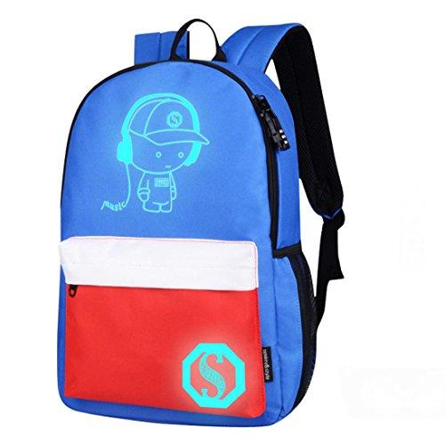 Transer Girls Boys Light Preppy Teenagers Noctilucent Cartoon Oxford School Bags Backpacks (M, Blue)