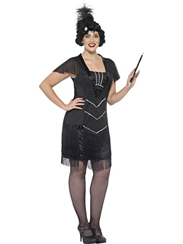 Smiffy's Women's Flapper Costume, Dress and Headband, 20's Razzle Dazzle, Serious Fun, Plus Size 26-28, 26528 - 1920 Costumes Plus Size