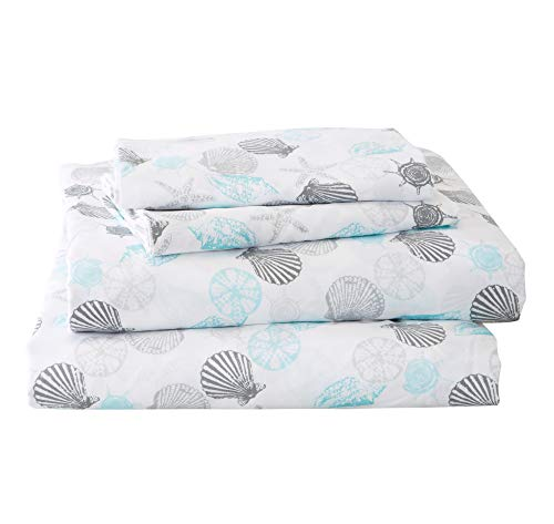 Great Bay Home Printed Coastal Microfiber Bed Sheets. Wrinkle Free, Deep Pockets, Beach Theme Sheet Set. Newport Collection (Full, Seashell) (Bedding Sheets Beach)