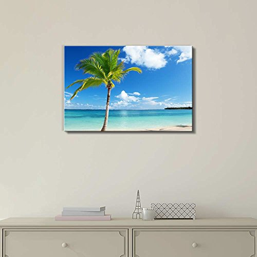 Beautiful Tropical Scenery Landscape Caribbean Beach and Palm Tree Wall Decor ation