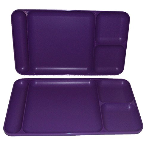 Tupperware Divided Dining TV Trays Picnic Kids Lunch Plates Grape Purple