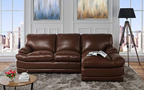 Leather Match Sectional Sofa, L-Shape Couch with Chaise Lounge (Right Chaise, Dark Brown)