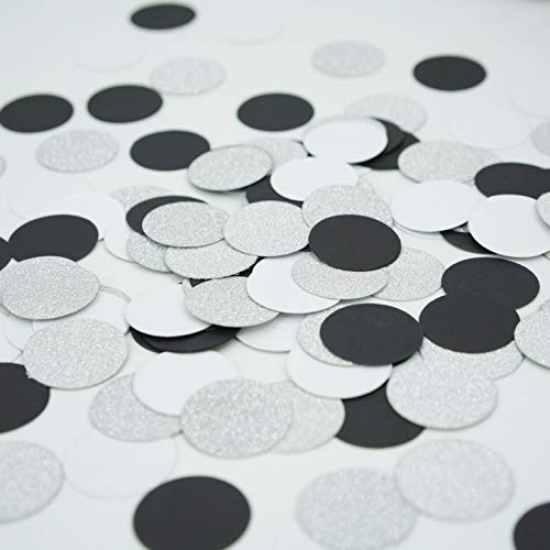 Black White Silver Bachelorette Party Table Confetti Engagement Wedding Bridal Shower Party Scatter Circle Dots Confetti Decor 30th 40th 50th Birthday Retirement Party Decorations, 200pc ()