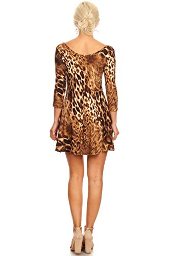 Casual Fit 4 Reg Womens and A Line Short Flare Dress Plus Sleeve and and 3 Skater Size Animal BfdqUgd