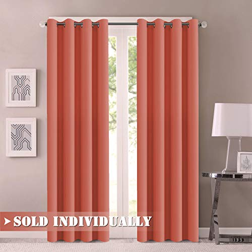 Flamingo P Blackout Curtains 96 Inch Long for Living Room Soft Microfiber Noise Reducing Thermal Insulated Patio Door Curtain Drapes Solid Ring Top Room Darkening Window Curtain (One Panel, Coral) (Flamingo Coral)