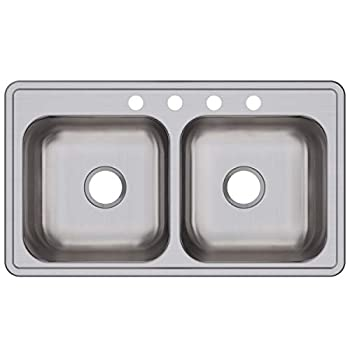 Image of Elkay DSE233194 Dayton Equal Double Bowl Drop-in Stainless Steel Sink Home Improvements