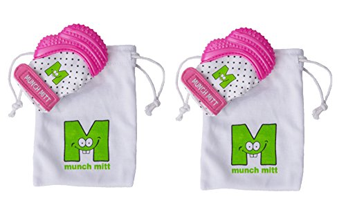 Munch Mitt® Teething Toy Stays on Baby's Hand is Self-Soothing Entertainment and Gives Pain Relief from Teething plus it's an Ideal Baby Shower Gift with a Handy Travel/Laundry Bag- Set of 2 Pink from Munch Mitt