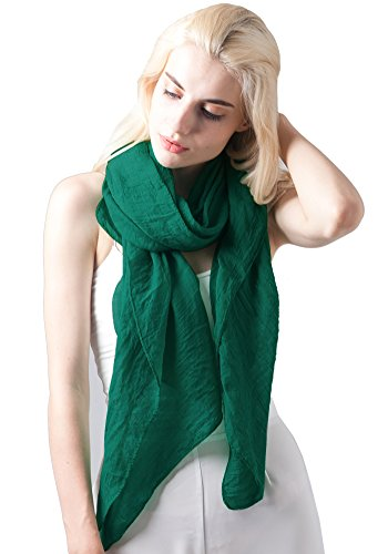 (MissShorthair Womens Long Scarf in Solid Color Large Sheer Shawl Wraps for Evening(Dark Green))