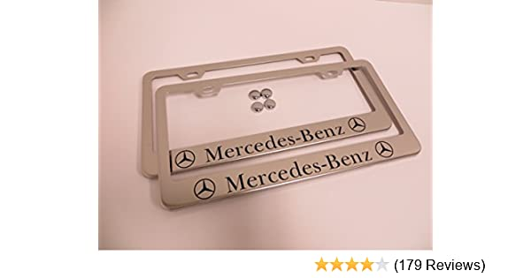2X Mercedes Benz Pink Stainless Steel License Plate Frame Rust Free W// Caps