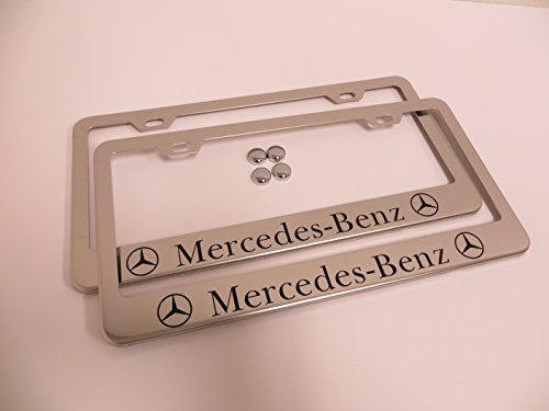 2 Pieces Mercedes-Benz Stainless Steel Chrome License Plate Frame Tag Holder with Screw Cap Covers