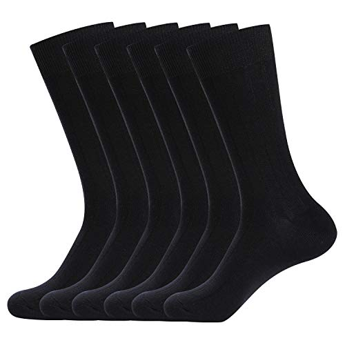 WANDER Mens Classic Dress Socks 6 Pack for Office Work Lightweight Business Men 6 Black