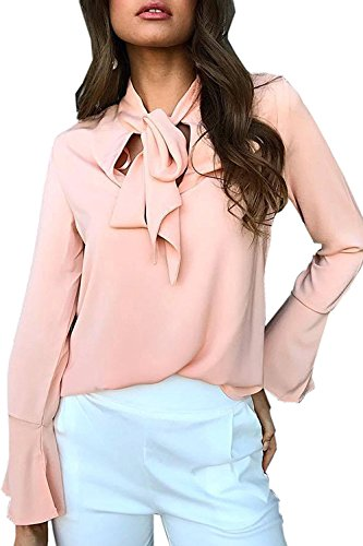 Relipop Fashion Women's Bow Tie Neck Casual Long Sleeve Blouse Shirt Tops (X-Large, Pink)