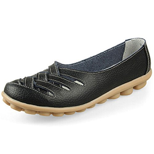 Pumud Women Work Space Leather Hollow Out Flat Loafers Shoes (8 B(M) US, Black)
