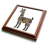 3dRose trv_244563_1 Funny Colorful Artistic Llama Abstract Art Original Trivet with Tile, 8'' x 8''