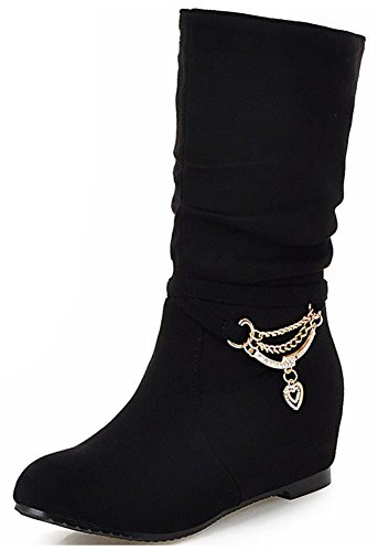 Microsuede Slouchy Boots - Mofri Women's Adorable Faux Suede Rhinestone Round Toe Low Hidden Wedge Heel Pull on Slouchy Mid Calf Boots (Black, 8 B(M) US)