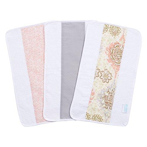 Trend Lab Waverly Rosewater Glam 3 Piece Jumbo Burp Cloth Set, Pink/Cream/Gray/Green (Green Burp Cloth Set)