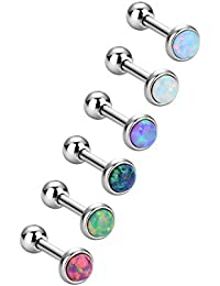 6 Pieces Stainless Steel Opal Stud Earring Barbell Piercing Earrings Body Jewelry for Tragus Cartilage, 6 Colors, 18 Gauge