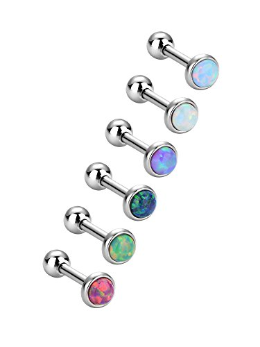 Ear Piercing Earrings Stud Body (Sumind 6 Pieces Stainless Steel Opal Stud Earring Barbell Piercing Earrings Body Jewelry for Tragus Cartilage, 6 Colors, 18 Gauge)