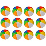 Kidsco 12 Pack Inflatable Beach Balls - 20 Inch - Traditional Multicolored Rainbow Color Beach Ball Style – Swimming Pool, Poolside, Beach, Party Favor