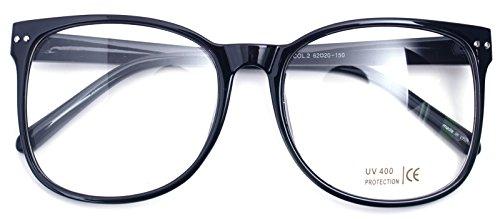 Oversized Big Round Horn Rimmed Eye Glasses Clear Lens Oval Frame Non Prescription (Glossy Black - Glasses Large Frames For Men