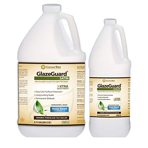 Surface Tile Sealer - GlazeGuard Satin Floor Sealer Wall Sealer for Ceramic, Porcelain, Stone Tile Surfaces (1 Gal -Prof Grade (2) Part Kit